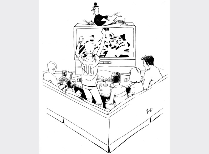 Interior illustration for Honey, Who Stole The Kids, a book about entertainment addiction by Gregory Bloom.