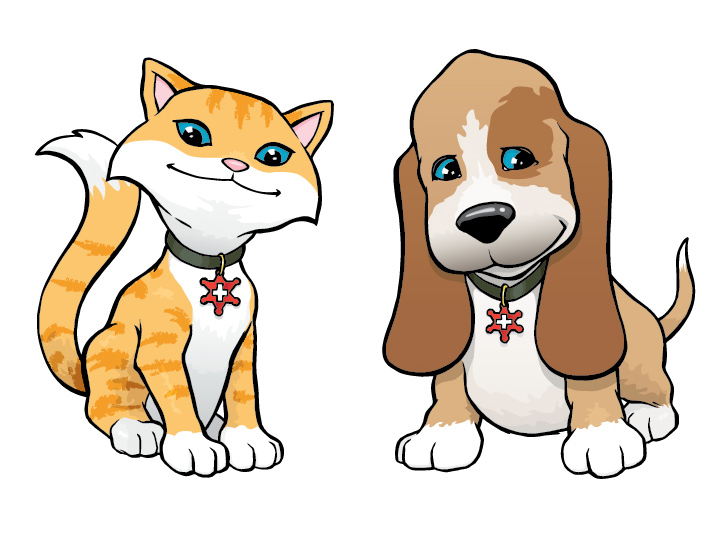 Cartoon characters for RF Bunker. Adobe Illustrator based on my pen and ink drawing.