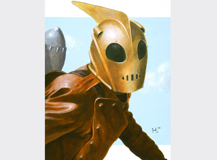 One of my all-time favorite comic book characters and stories. I did this painting of the Rocketeer as a tribute to the life of his creator, master illustrator Dave Stevens. Acrylic paint on an 18 x 24 primed masonite panel. Original available.