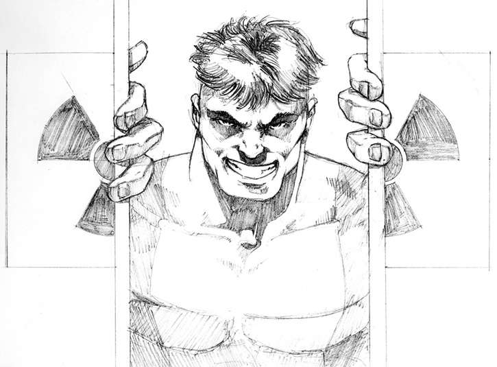 Pencil layout for a Hulk painting. I can't seem to find a scan of the finished piece, and the original is long gone. Roughly 9 x 12.