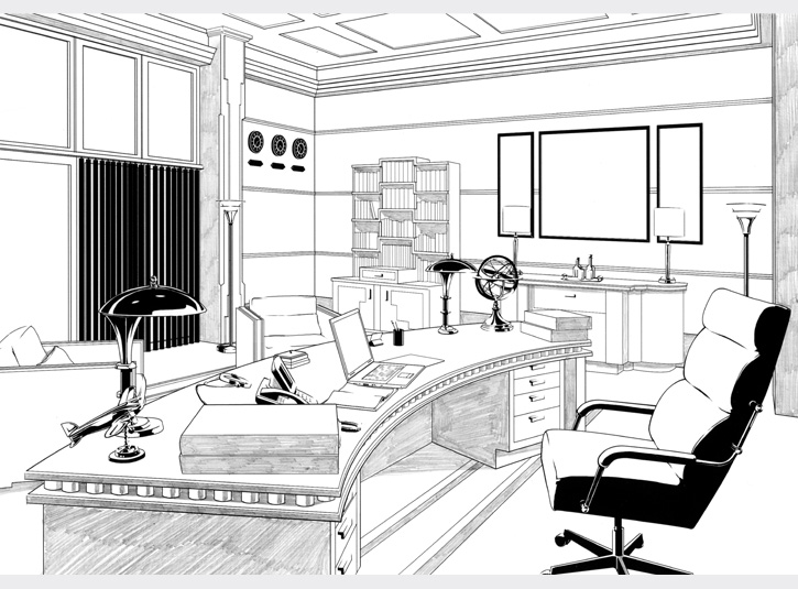 Background drawing of Perry White's office at the Daily Planet used in the comic book adaptation of Superman Returns from DC Comics, 2006.