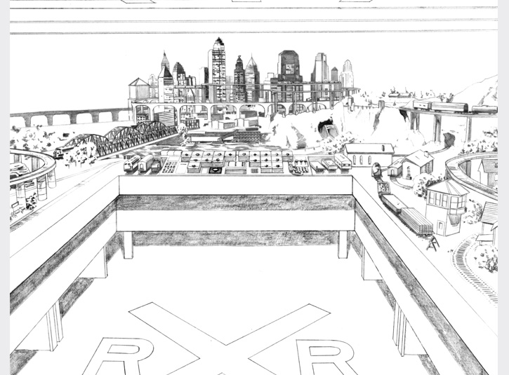 Background drawing of an elaborate train set soon to be destroyed by Lex Luthor, used in the comic book adaptation of Superman Returns from DC Comics, 2006.