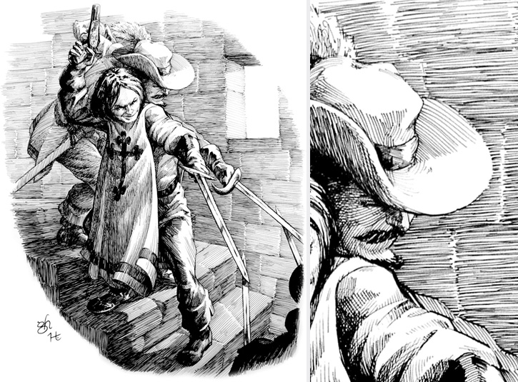 Pen and ink illustration on 16 x 20 bristol plate. Pencils by Gabe Hernandez. Original available. Detail on right.