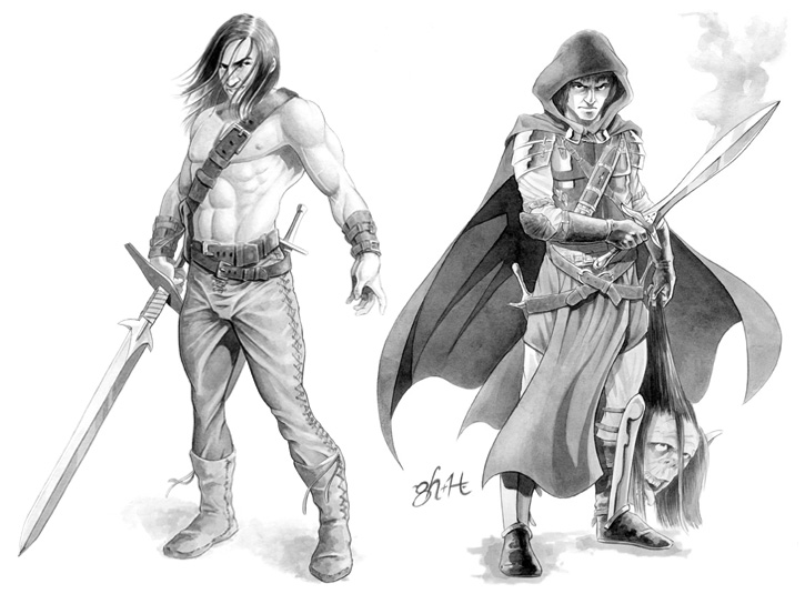 Character designs for Holy Lands role playing game. Ink wash on bristol vellum. Pencil drawing by Gabe Hernandez.