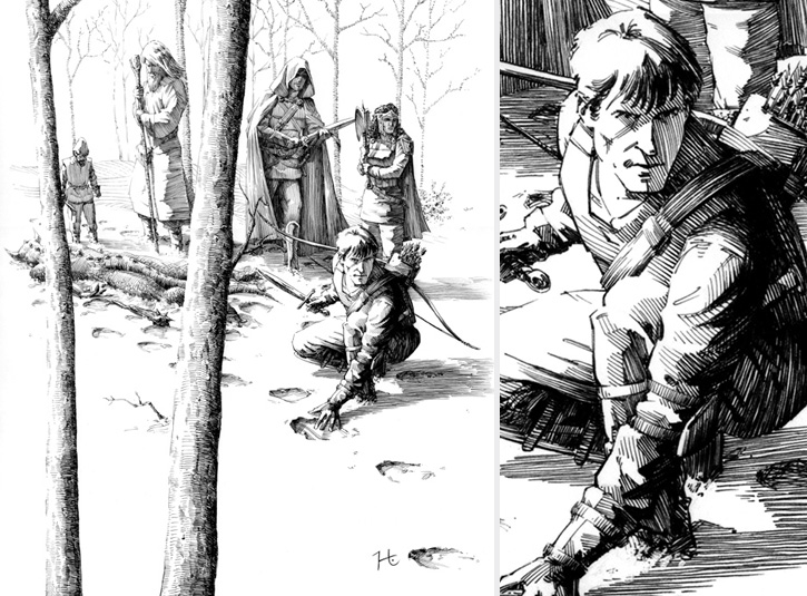 Pen and ink illustration for Holy Lands role playing game adventure pack on 10 x 14 bristol plate. Detail on right.