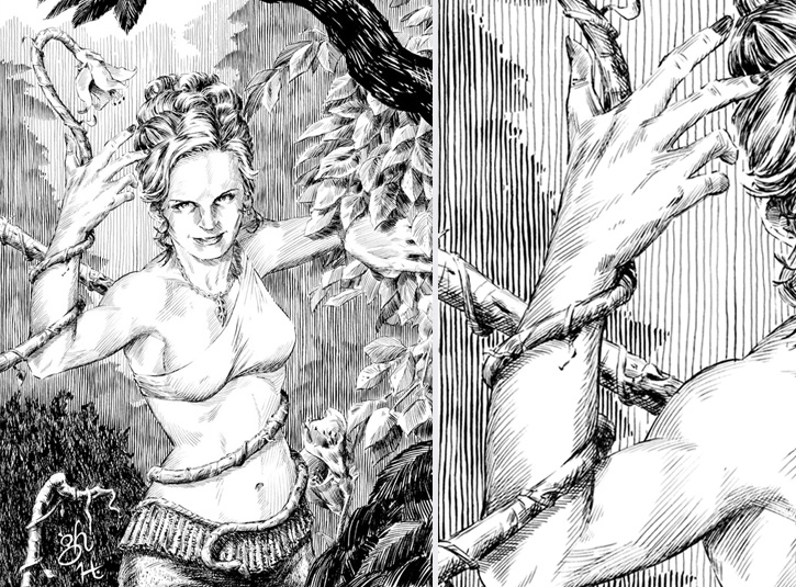 Illustration for Fantasy Imperium role playing game. 100% brush work with India ink on 8 x 10 bristol plate. Pencils by Gabe Hernandez. Original available. Detail on right.