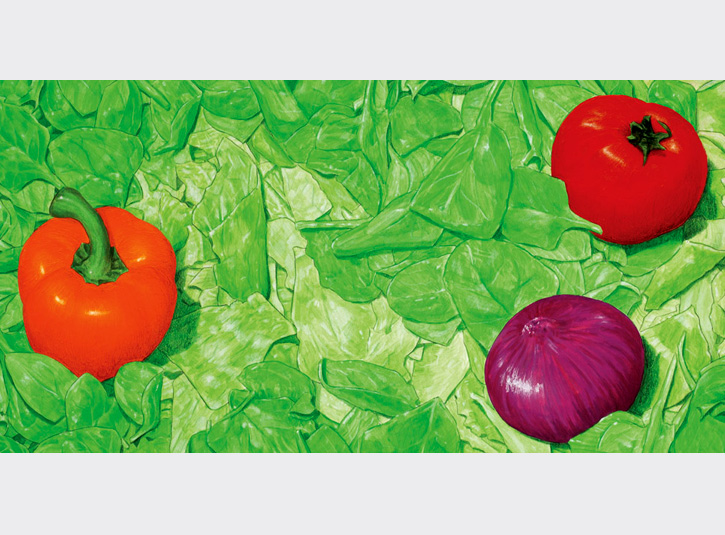 Illustration for the board background for the board game Salad Bowl. Acrylic paint and colored pencil, roughly 10 x 20.