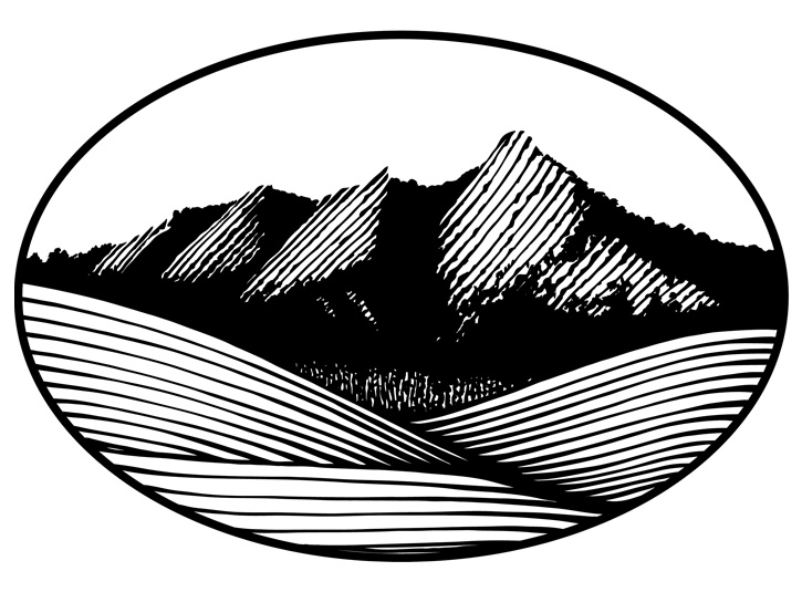 Pen and ink drawing of the Flatirons in Boulder, Colorado for a logo design.