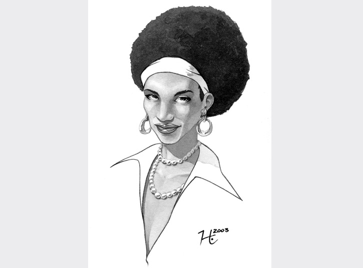 Commissioned illustration for a collector who loves women with afros. Ink wash on bristol vellum.