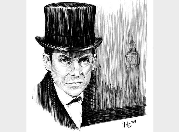 Pen and ink portrait of the definitive portrayal of the master sleuth, the late, great Jeremy Brett. Pigma Microns and Brush Pens on 9 x 12 bristol plate. Original available.