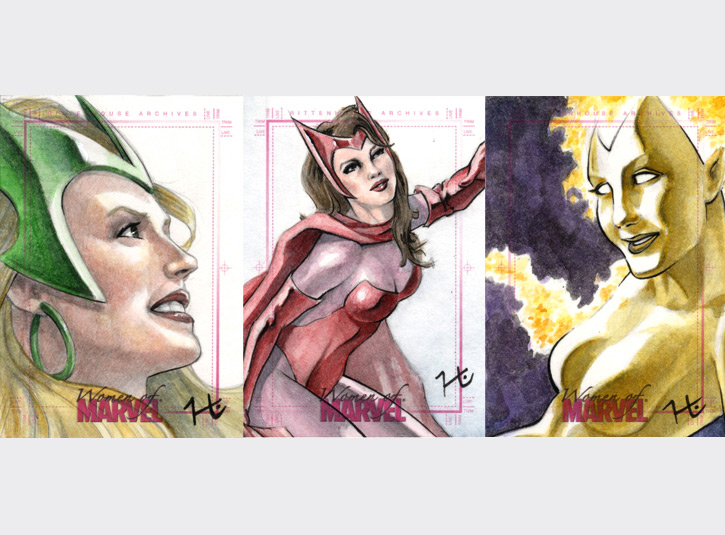 2.5 x 3.5 sketchcards from the Women of Marvel card set by Rittenhouse Archives, 2008. Pencil, ink, and watercolors.