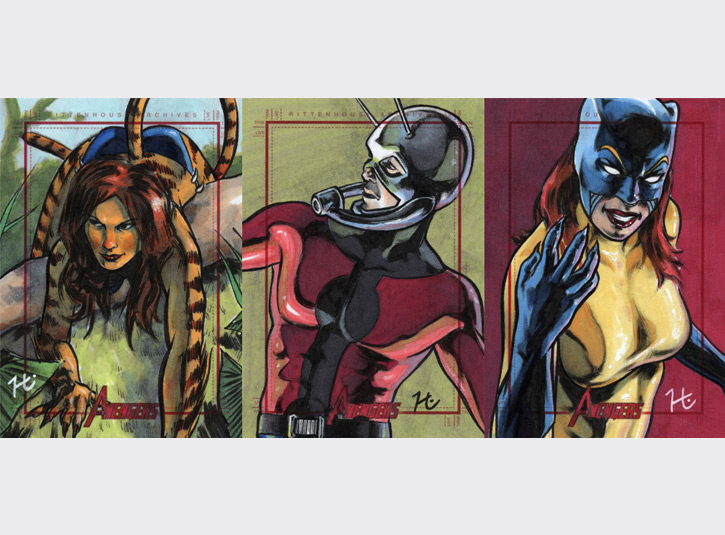 2.5 x 3.5 sketchcards from the Marvel's Greatest Heroes card set by Rittenhouse Archives, 2012. Pen and ink and Copic Markers.