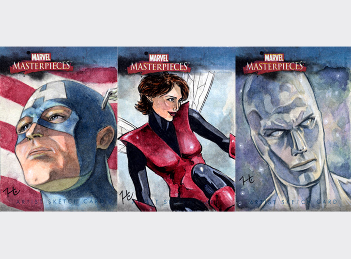 2.5 x 3.5 sketchcards from the Marvel Masterpieces card set by Upper Deck, 2007. Pencil, ink, and watercolors.