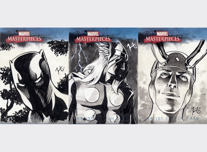 2.5 x 3.5 sketchcards from the Marvel Masterpieces card set by Upper Deck, 2007. Pen and ink, and ink wash.