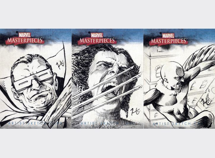 2.5 x 3.5 sketchcards from the Marvel Masterpieces card set by Upper Deck, 2007. Pen and ink.