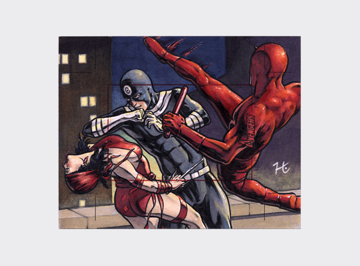 Commissioned Artist's Proof card from the Marvel Greatest Heroes card set from Rittenhouse Archives. The collector wanted a scene with Bullseye, Elektra, and Daredevil, and this is what I came up with. Pre-cut card dimensions: 4 x 5 inches. Pen and ink and Copic Markers.
