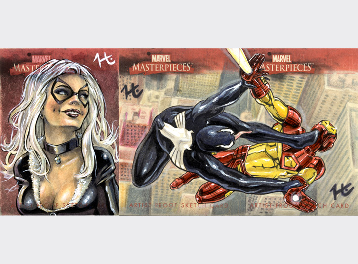 Commissioned Artist's Proof cards from the Marvel Masterpieces card set from Upper Deck. Black Cat's on the left; the 2-card puzzle is Venom vs. Iron Man. Each card measures 2.5 x 3.5, pen and ink, watercolor, and acrylic paint.