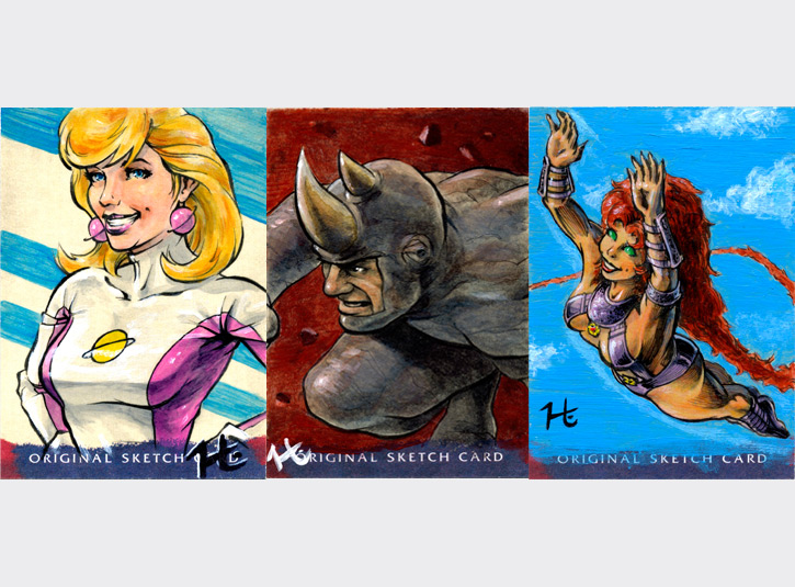 Personal sketch cards for collectors: Saturn Girl, Rhino, and Starfire. Pen and ink and acrylic paint on 2.5 x 3.5 sketchcards.