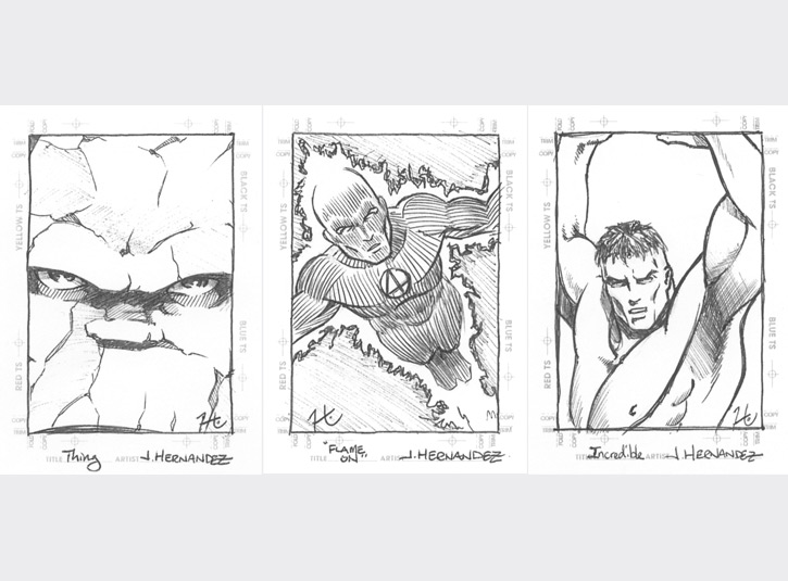2.5 x 3.5 sketchcards from the Marvel Creator's Collection by Fleer/Skybox, 1998. This was the card set that really ignited the sketchcard craze. Back then, sketchcards were actually quick sketches, unlike the fully illustrated monstrosities they've turned into today. I did mine in straight ballpoint pen. I was still referring to myself professionally as Jacinto back then, hence the J. Hernandez listed as the artist on the cards.