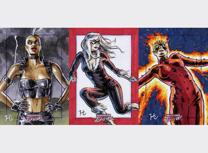 2.5 x 3.5 sketchcards from the Marvel's Dangerous Divas 2 card set by Rittenhouse Archives, 2014. Pen and ink and Copic Markers.