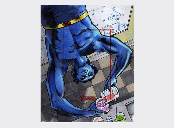 Commissioned Artist's Proof card from the Marvel Greatest Heroes card set from Rittenhouse Archives. Hank McCoy, aka the Beast doing some work in the lab. Pre-cut card dimensions: 4 x 5 inches. Pen and ink and Copic Markers.
