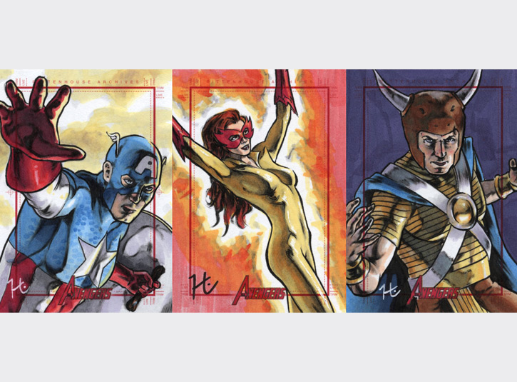 2.5 x 3.5 sketchcards from the Marvel's Greatest Heroes card set by Rittenhouse Archives, 2012 Pen and ink and Copic Markers.
