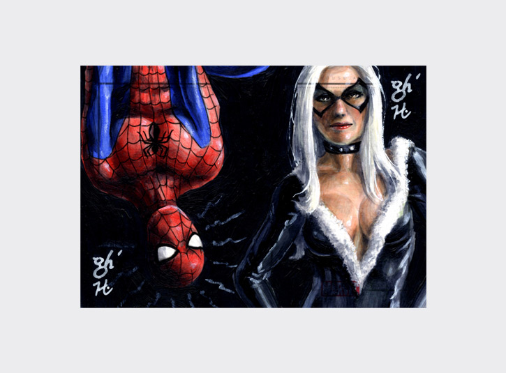 2.5 x 3.5 sketchcards from the Marvel Heroes and Villains card set by Rittenhouse Archives, 2010. My brother Gabe and I were asked to create a series of 2-card puzzles for this set as an incentive for collectors and dealers. Pencils (by Gabe) and acrylic paint.